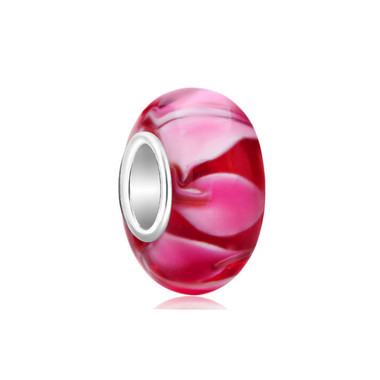 Red Pink Petals Murano Glass Bead
