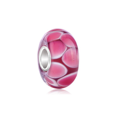 Rose Pink Flower Petal Murano Glass Bead