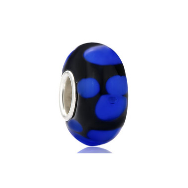 Black Blue Dots Murano Glass Bead