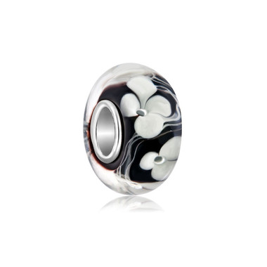 White Flower Clover Black Murano Glass Bead