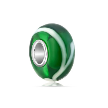 Green And White Murano Glass Bead