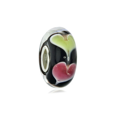 Yellow Pink Hearts Love Black Murano Glass Bead