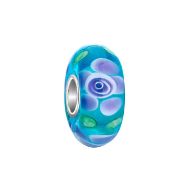 Blue Purple Flower Murano Glass Bead