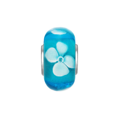 Blue White Flower Murano Glass Bead