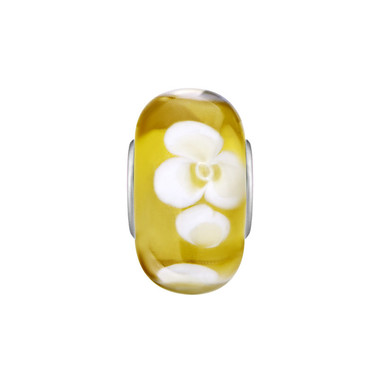Yellow White Flower Murano Glass Bead