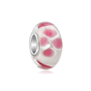 White Pink Flower Murano Glass Bead