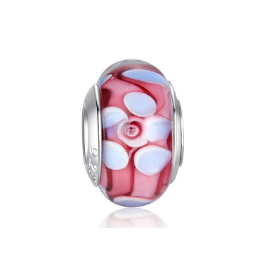 White Flower Pink Murano Glass Bead