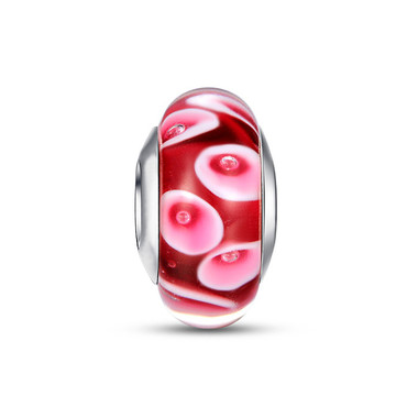 RED LILY MURANO GLASS BEAD