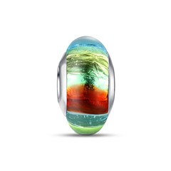 MULTICOLOR A STRIPED FOIL MURANO GLASS BEAD