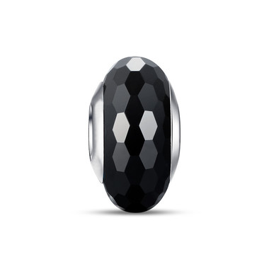 BLACK RHOMBIC FACETS GLASS BEADS