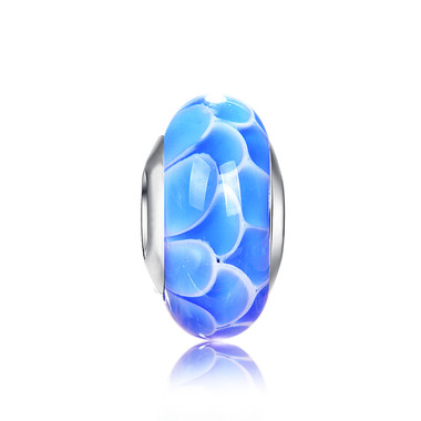 Blue Lotus Murano Glass Bead