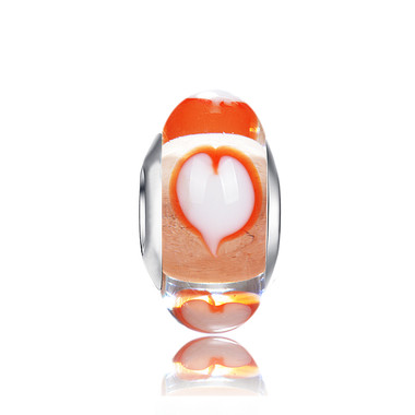 Orangle Heart Murano GLASS BEADS