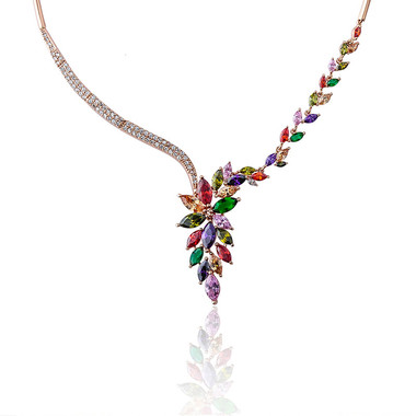 Colorful Crystal Ambilight Necklace Gold Plating