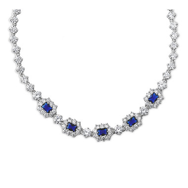 The Bride Blue Necklace Gold Plating - Crystal