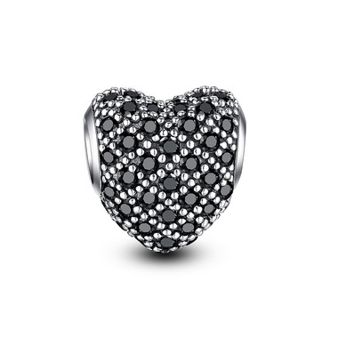 BLACK SILVER PAVED CRYSTAL CHARM