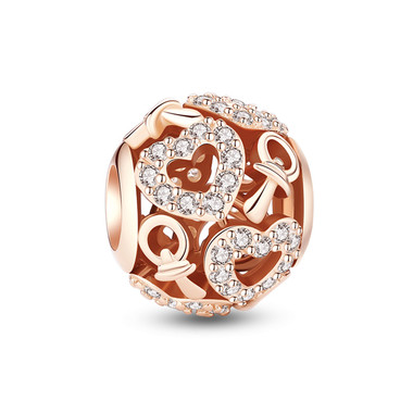 Lovely Nipple Rose Gold Cystal Paved Charm