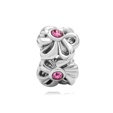 Oct Birthstone Rose Pink Crystal Flower Charm