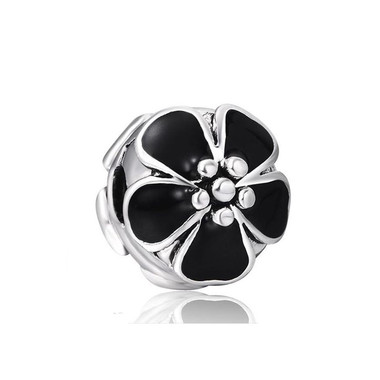 Black Flower Clip Charm 925 Sterling Silver
