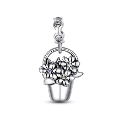 BUCKET OF FLOWERS DANGLE CHARM