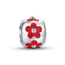 RED ENAMEL FLOWER CUFF CHARM