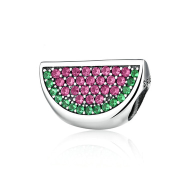 watermelon paved crystal charm