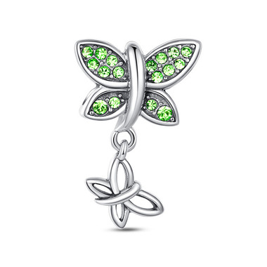 GREEN BUTTERFLY DANGLE CHARM