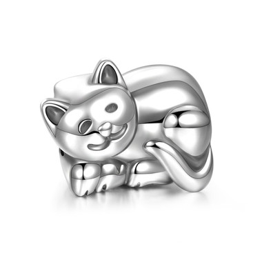 Sterling Silver Sleepy Cat Charm