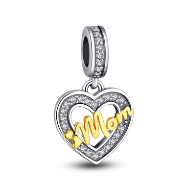 Heart Love Mom Crystal Paved Charm