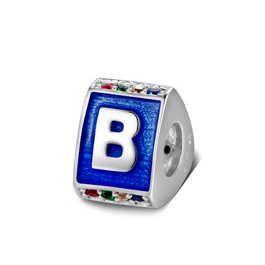 Triangle letter b charm with enamel