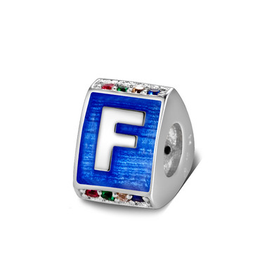 Triangle letter f charm with enamel