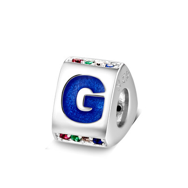 Triangle letter g charm with enamel