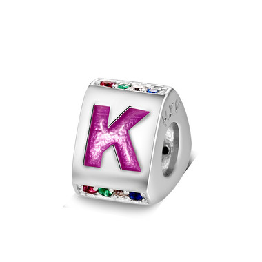 Triangle letter k charm with enamel