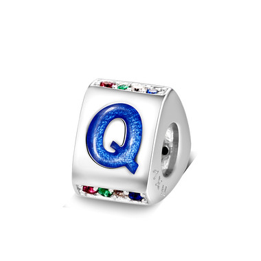Triangle letter q charm with enamel