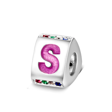 Triangle letter s charm with enamel