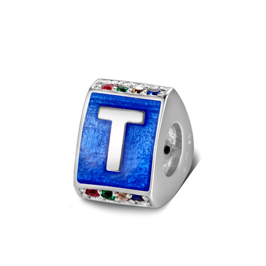 Triangle letter t charm with enamel
