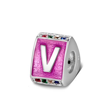 Triangle letter v charm with enamel