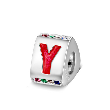 Triangle letter y charm with enamel