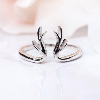 SILVER RING - ANTLER ART
