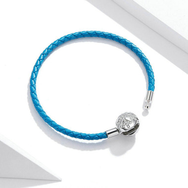 BLUE LEATHER SILVER CHARM BRACELET