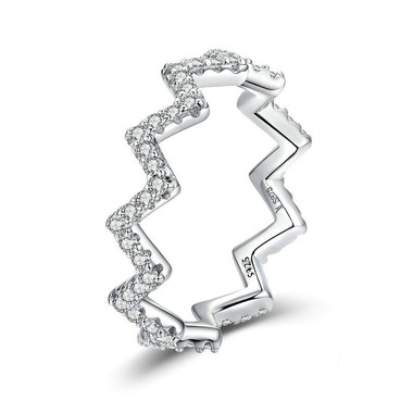 WHITE ZIRCON STERLING SILVER RING - WAVE