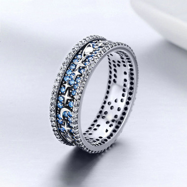 BLUE ZIRCON STERLING SIVER RING - STAR MAP