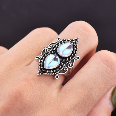 MOONSTONE RING - WATER DROP