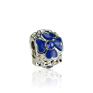 Blue Four Leaf Heart Clover Charm