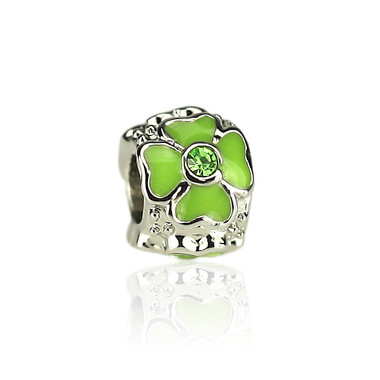 Light Green Four Leaf Heart Clover Charm