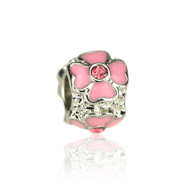 Pink Four Leaf Heart Clover Charm