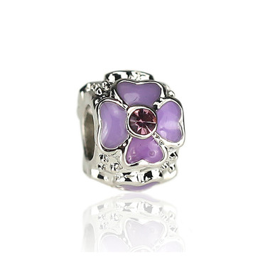 Purple Four Leaf Heart Clover Charm