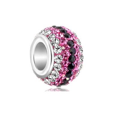Birthstone Charm With Pink & Black Crystal