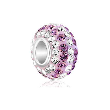 Birthstone Charm With Rose Pink And Clear White Crystals