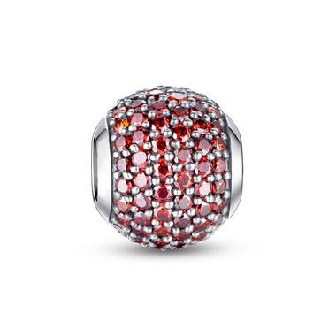 JANUARY BIRTHSTONE-EMERALD RED PAVED CRYSTAL CHARM