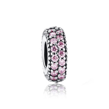 Round Spacer Paved Pink Crystal